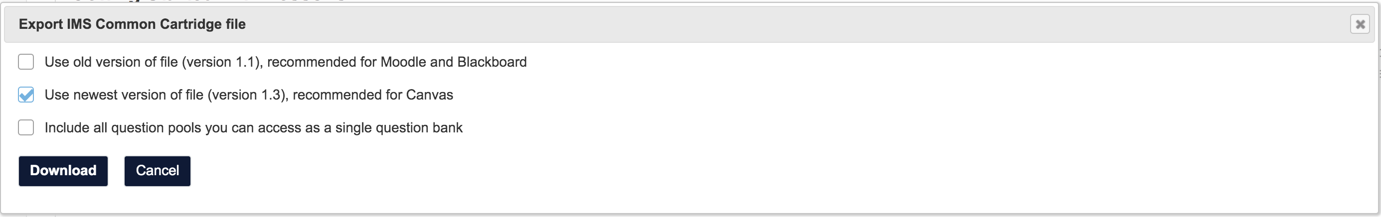 screenshot of More Tools > Export CC in Lessons tool in Sakai